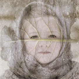 winter by Kathleen Devai - Digital Art People ( fantasy, child, vintage, texture, leaf )