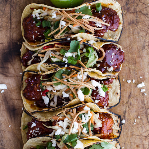 Korean Fried Chicken Tacos with Sweet Slaw, Crunchy Noodles + Queso Fresco.