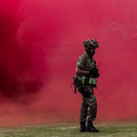 Warlord by Arisha Singh - People Portraits of Men ( army, explosion, sandf, war, smoke )