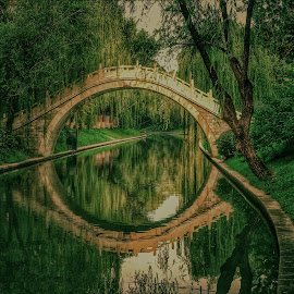 Crossing over by Francisco Little - Buildings & Architecture Bridges & Suspended Structures ( willow, green, reflection, china, culture, tranquil, bridge, beijing, water )