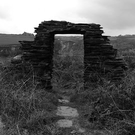 Quarryman's Cottage by DJ Cockburn - Black & White Buildings & Architecture ( monochrome, black and white, wales, pembrokeshire, ruin, slate, door, landscape, grayscale, abereiddi, quarry, pembrokeshire coast national park, cottage, blue lagoon, derelict, national trust, abereiddy, st david's peninsula )