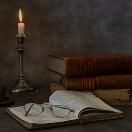The Reader by Fico Stein Montagne - Artistic Objects Still Life ( glasses, candlestick, book, nikon d7000, still life, reading )