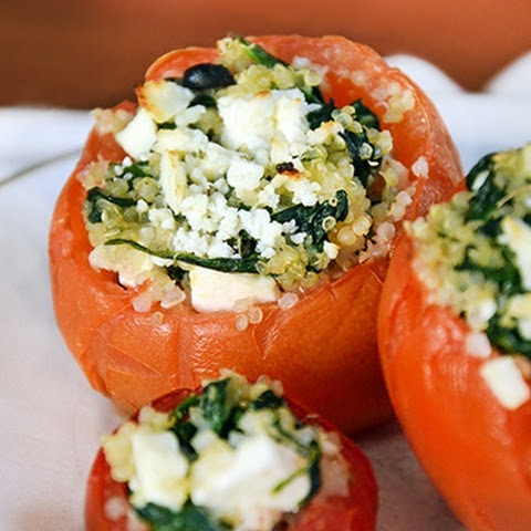 Baked Spinach and Rice Stuffed Tomatoes