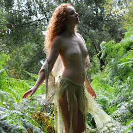 Dryad Still by DJ Cockburn - Nudes & Boudoir Artistic Nude ( skirt, natural light, nude, topless, nature, woman, forest, redhead, ivory flame, standing, portrait )