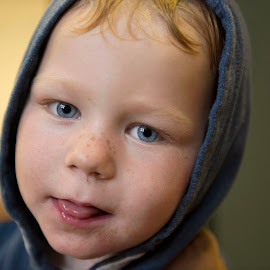 Boy with tongue out by Graham Peel - Babies & Children Children Candids ( cheeky, tongue, freckles, boy )