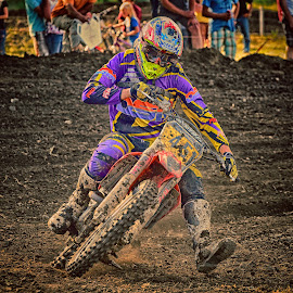 by Marco Bertamé - Sports & Fitness Motorsports ( curve, purple, 45, motocross, dust, clumps, number, forty-five, race, alone, accelerating, competition )