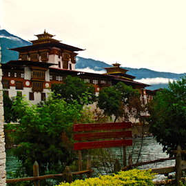 Punakah across the River by Charlie Marcus - Buildings & Architecture Other Exteriors ( bhutan )