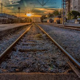 stripes at the sun by Eseker RI - Transportation Railway Tracks