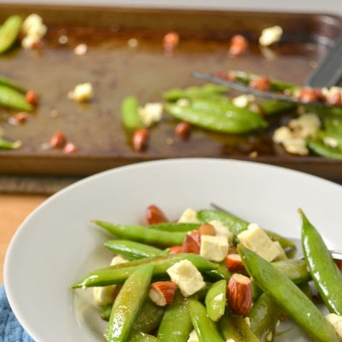 Roasted Snap Peas with Feta and Almonds