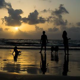 Family Celebrates Evening at Beach by Sandeep Bansal - People Family ( moin udin, sandeep bansal, mumbai, sunset, family, manori, people )