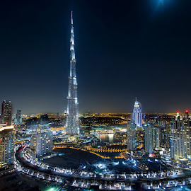 The Prestigious square kilometer on earth by Mohammed Janabi - Buildings & Architecture Office Buildings & Hotels ( digital blending, tower, dubai, uae, burj, night, architecture )
