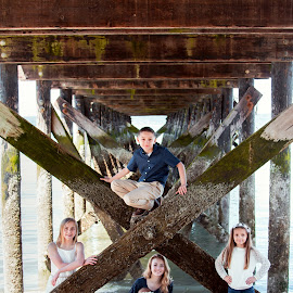 Under the Dock by Jenny Hammer - Babies & Children Child Portraits ( beach, cousins, kids, siblings, dock )