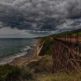 Railway bridge by Chris Seaton - Transportation Railway Tracks ( clouds, railroad, ocean, bridge, travel, tracks, landscape )