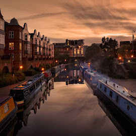 Birmingham Canals by Jon Jones - City,  Street & Park  Vistas ( water, barges, reflection, transport, sunset, birmingham, cityscape, canal )