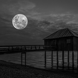 Moon!!! by Jesus Giraldo - Buildings & Architecture Homes ( water, moon, haus, pier, night, lake )