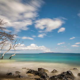 Maui-1 by Christopher Pischel - Landscapes Beaches ( shore, water, clouds, waves, beach, maui, sky, vacation, shoreline, trees, summer, long exposure, motion, rocks, hawaii )