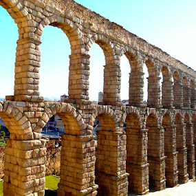 Roman Aquaduct by Dhannya Jacob - Buildings & Architecture Public & Historical ( history, monuments, roman, stones, spain )