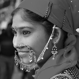 Folk Dancer by Ashwini Attri - Black & White Portraits & People