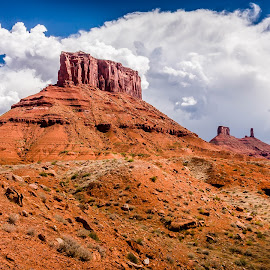 Mesas north of Castle Valley Utah by Ken Brown - Landscapes Deserts ( terrain, clouds, mesas, desert, cliffs, erosion, rocky, cliff, blue skies, sandstone, scenic, landscape, rough, metamorphic, red, butte, mesa, utah, cumulonimbus, weather, rocks, rain )