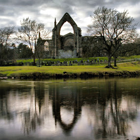 Bolton Abbey Reflections by Sandra Cockayne - Buildings & Architecture Public & Historical ( pwcarcreflections, west yorkshire, christianity, waterscape, reflections, addingham, architecture, landscape, ilkley, religion, bolton abbey, yorkshire, sandra cockayne, religious, abbey,  )