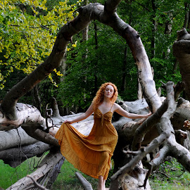 Logdance by DJ Cockburn - People Portraits of Women ( natural light, walking, nature, dress, woman, forest, redhead, ivory flame, standing, portrait )
