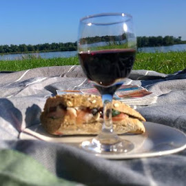 Picnic on a sunny day by Redski Pictures - Food & Drink Alcohol & Drinks ( wine, bread, alcohol, wine glasses, sun, picnic )
