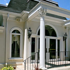 The entrance. by Peter DiMarco - Buildings & Architecture Other Exteriors ( building, mansion, columns, architecture, entrance )