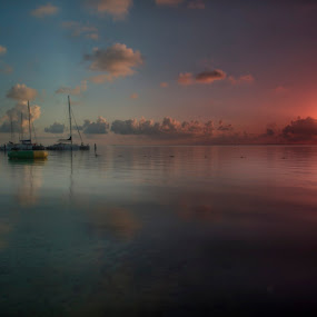 Boats in Cancun at sunrise by Cristobal Garciaferro Rubio - Landscapes Waterscapes ( cancun, water, shore, clouds, sun rise, reflecitions, boats, sea )