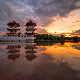 The Twin Pagodas @ Chinese Garden by Gordon Koh - Buildings & Architecture Other Exteriors ( clouds, reflection, pagoda, lake, travel, architecture, singapore, towers, sunset, buildings, asia, long exposure, historical, chinese garden,  )