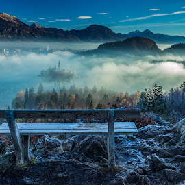 Mystical morning by Miroslav Asanin - Landscapes Travel ( canon, clouds, hills, europe, beautiful, lakes, forest, lake, tourism, travel, morning, exploration, island, foggy, mountains, adventure, blue sky, fog, blue, slovenia, bled, view, travel locations )