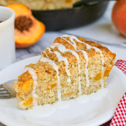 Peach Streusel Coffee Cake in a Skillet