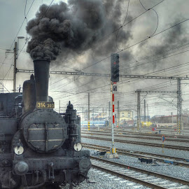 steam locomotive leaves ... by František Valčík - Transportation Trains
