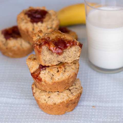 Peanut Butter and Jelly Stuffed Banana Muffins