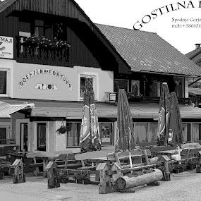 frtuna by Mrak Rado- Fotograf - Black & White Buildings & Architecture ( gorje, fortuna, bled, gostilna, gasthouse )