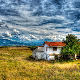 The Road to Meteora - Grevena To Kalambuka by Rik Freeman - Landscapes Prairies, Meadows & Fields ( clouds, mountain, hdr, thessaly, meteora, greece, summer, house, travel, landscape, fields )