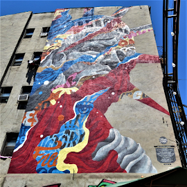 Little Italy Lady Liberty by Hal Gonzales - Artistic Objects Signs ( sign, liberty, mural, nyc, painting, italy,  )