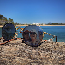 Images in Sunglasses by Gillian Van Werkhoven - Artistic Objects Clothing & Accessories ( rockpools, beaches, blue sky, bay, photo manipulation, sea, ocean, seascape, rock formation, inlet, landscape, ocean view, sunglasses )