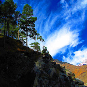 Whirling cloud... by Avijit Basak - Landscapes Weather ( mountain, tree, blue, cloud, yellow )