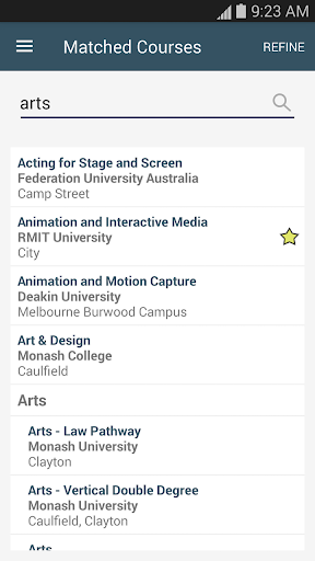 VTAC CourseSearch - screenshot