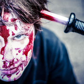 The Last shock by Stwayne Keubrick - People Fine Art ( child, face, headshot, blood, couteau, portrait, knife, kid, halloween )