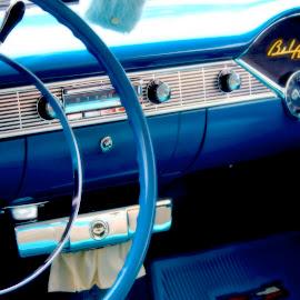 57 Dash by David W Hubbs - Transportation Automobiles ( 57 chevy, classic car, old car, vintage car, steering wheel, chevy steering wheel, dashboard, blue dashboard, chevy )