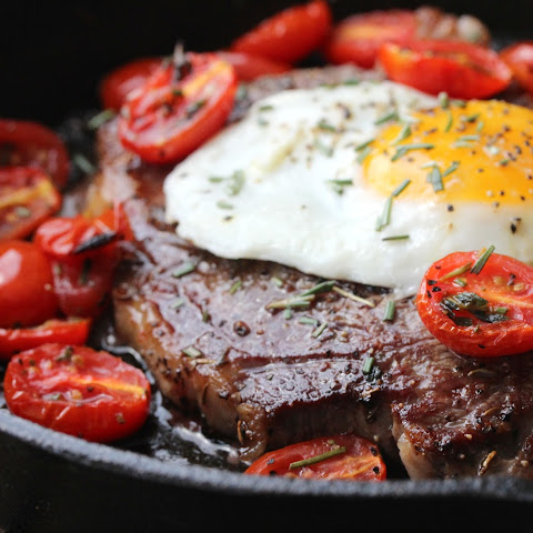 Steak and Eggs with Roasted Cherry Tomatoes