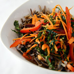 Wild Rice Salad with kale, beet, bell pepper, carrot, bloomed wild rice and a ginger dressing
