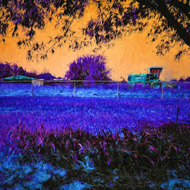Haying Season by Allen Crenshaw - Digital Art Places ( farm, abstract, life, morning., hay, illustration, art, cutting )