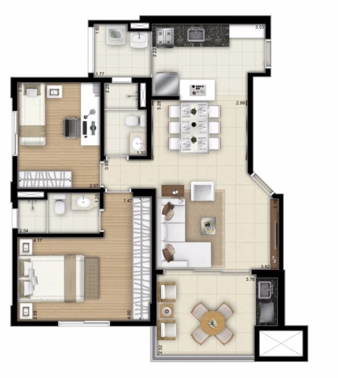 Planta Final 3 - 73 m²