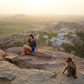copycat  by Mike Mulligan - People Street & Candids ( mountain, girl, india, posing, monkey )