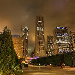 Millennium Park by Bim Bom - City,  Street & Park  Vistas ( chicago park scyscrapers night 'long exposure clouds alley bench couple,  )