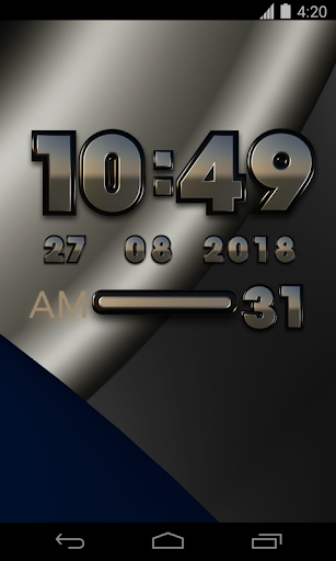 Black silverblue digital clock - screenshot