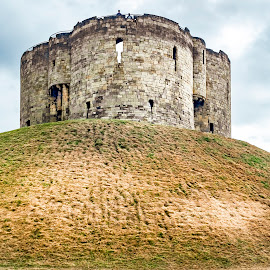 Clifford's Tower by Darrell Evans - Buildings & Architecture Public & Historical ( sky, green, castle, yorkshire, motte-and-bailey, old, medieval, tourism, decay, cliffords tower, building, norman, stone, hill, fortress, security, uk, fortified, grass, york, mound )