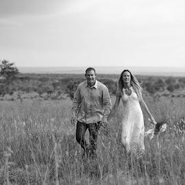 Savanna Wedding by Andrew Morgan - Wedding Bride & Groom ( serengeti, grass, wedding, bride, groom )